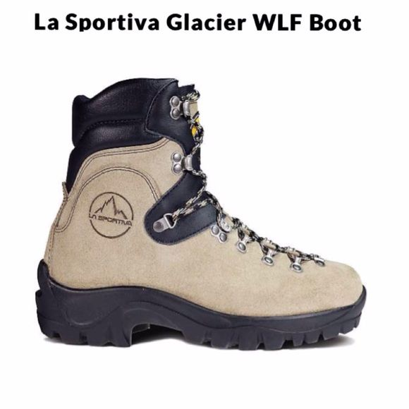 LA SPORTIVA Boots New In Box LA SPORTIVA boots, excellent for hiking/backpacking. Women size 6.5, man 5.5. Originally $280+tax.   Battling extreme temperature and hazardous conditions requires the Glacier WLF Boot from La Sportiva, a wildland firefighting specific boot that offers durable protection. Built on Vibram Ice soles that resist temps up to 572F and are HRO Test and ISO 20344 Certified, the Air Cushion midsole and half steel shank give you support while keeping you comfortable…