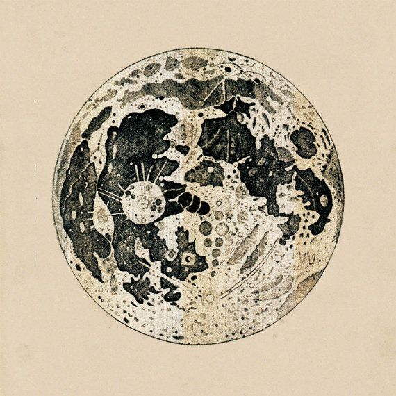 Gravure impression Antique astronomie de la lune récupéré Vintage Image au cadre