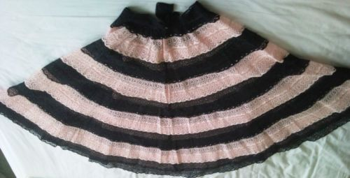 VINTAGE 1950s PINK BLACK CROCHET LACE FULL CIRCLE SKIRT ROCKABILLY PIN UP S 50s | eBay