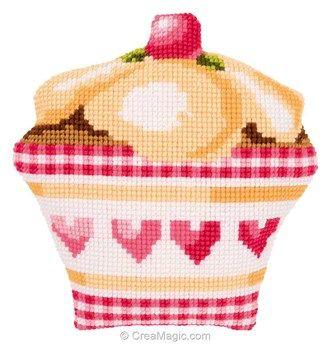 Coussin déco de cup cakes au point de croix de Vervaco