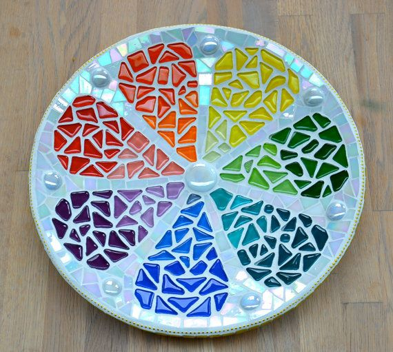 Plato de cristal mosaico arco iris limón
