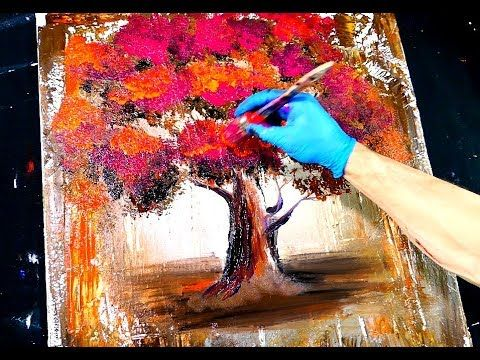 Abstract painting – magenta orange tree – wood grain and round brush techniques – youtube