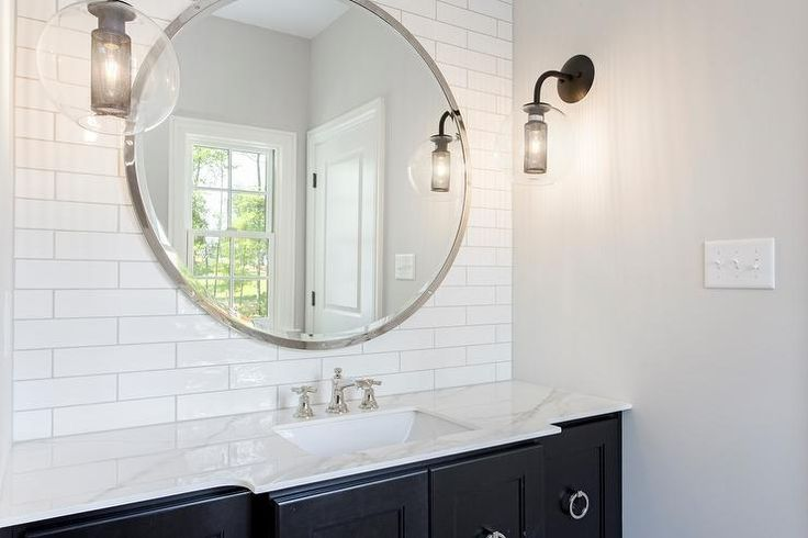 Black And White Bathroom Boasts A Black Washstand