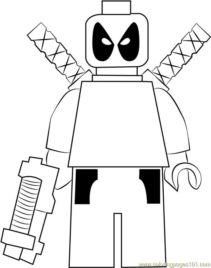 Lego Deadpool Coloring Page From Lego Coloring Pages Category