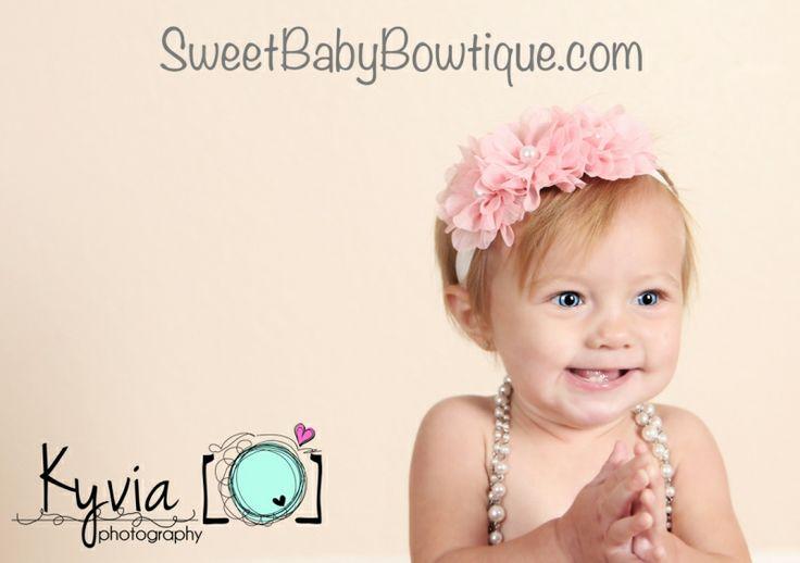 OMG the MOST ADORABLE baby headbands and newborn headbands! www.sweetbabybowtique.com!   The Sophia Flower Pink Elastic Headband