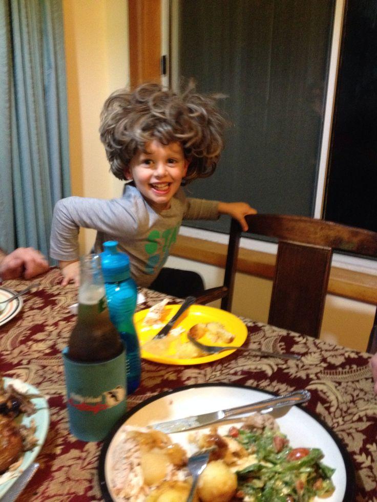 Jacob & his crazy Nanna wig he found lol.