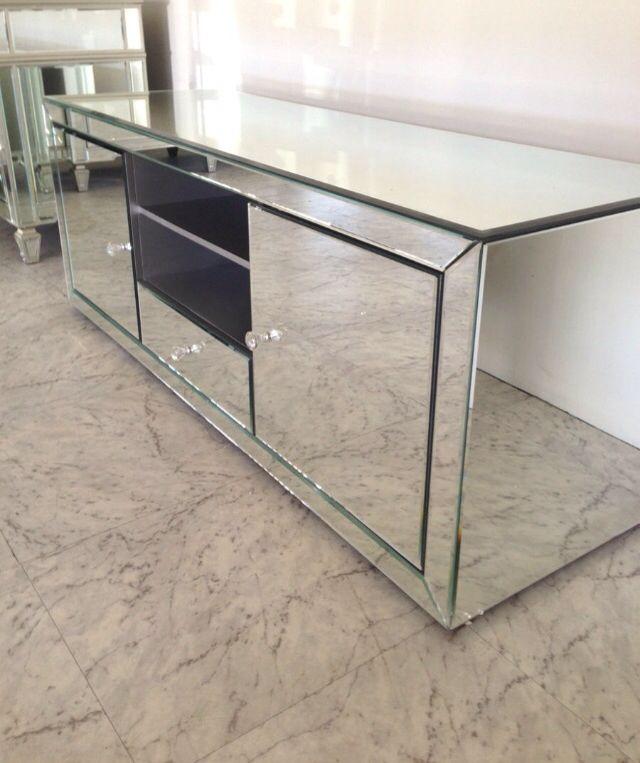 Mirrored Tv Cabinet Home Decor Entertainment Units Furniture