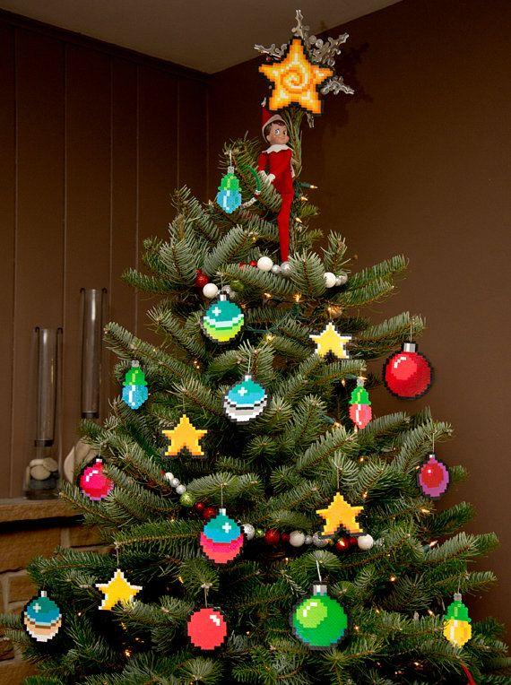 8 bit pixel art christmas ornament stars set of 4 for 8 bit decoration