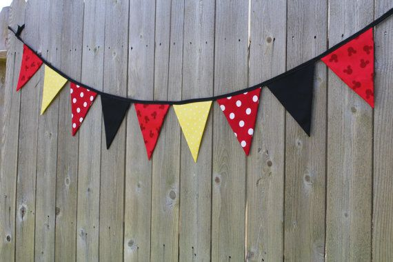 Mickey Mouse Bunting Banner Mickey Mouse Fabric Flags by RuntCakes