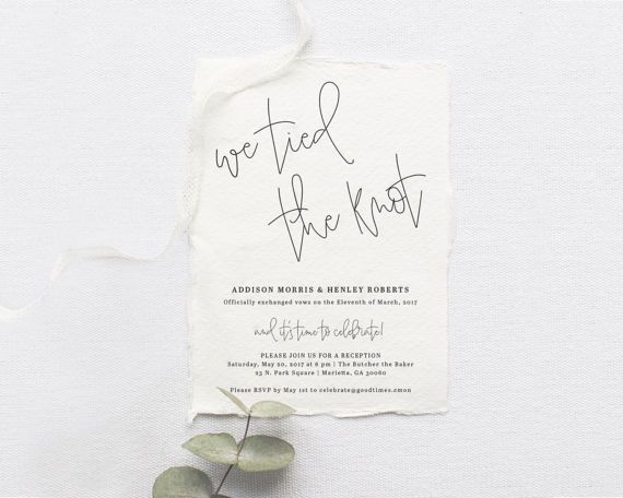 Elopement Announcement, We Tied the Knot Elopement, We Eloped Invite, Elopement Reception Invitation, Elopement, Elopement Printable, DIY