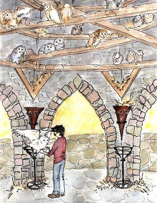 Harry Potter Fan Art Owlery by HallieLuYa on Etsy