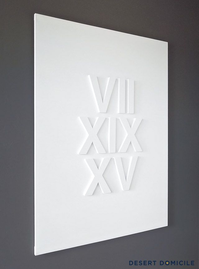 DIY Roman Numeral Wedding Date Art – Such a sweet way to commemorate your big day! #diy #wedding #anniversary