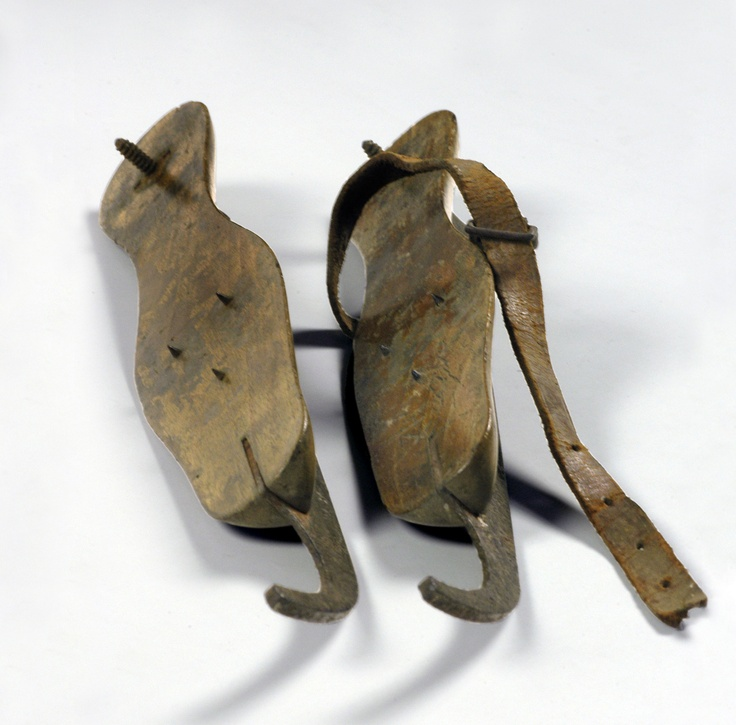 19th century fen skates, also called pattens or Whittlesey runners.