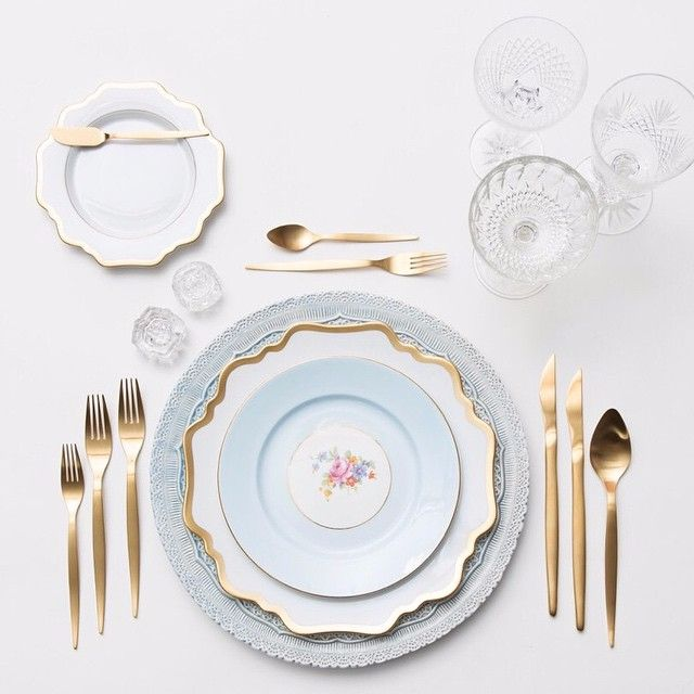 Dusty Blue Lace Chargers + Anna Weatherley Dinnerware & The Botanicals Collection Vintage China + Celeste Flatware + Cut Crystal/Coupe Trios + Antique Crystal Salt Cellars | Casa de Perrin Design Presentation