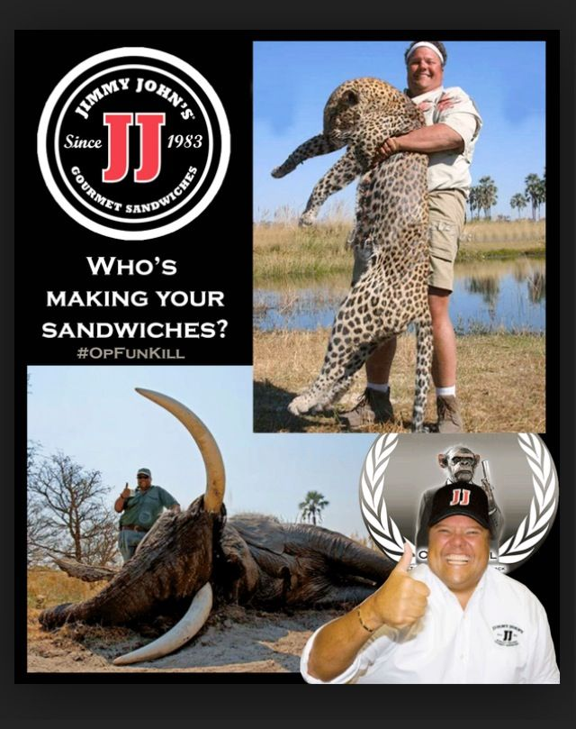 Jimmy Johns. This is what rich guys do with their money?  No empathy for animals!  Boycott this turd, please.
