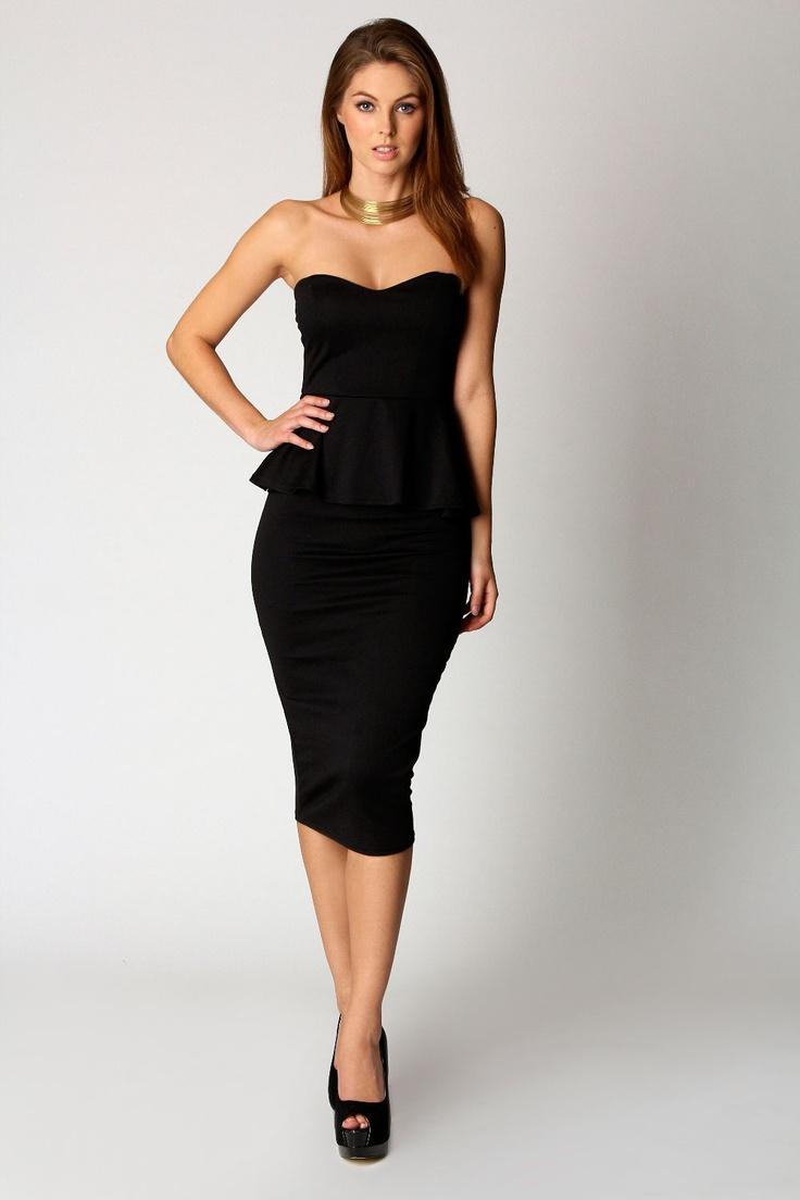 Susannah Sweetheart Peplum Midi Dress
