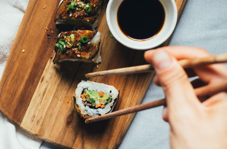Asian eggplants are long, slender, with thin edible skin, and a sweet creamy flesh. This recipe, a play on a black dragon sushi roll, features Asian eggplant as the star ingredient. The eggplant, brushed with a sweet miso dressing and roasted in the oven, lends a delicious burst of flavour and luxurious meaty texture to …
