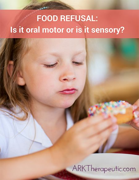 Is your child refusing foods? Typically the children I see for feeding therapy refuse foods because of oral motor and/or sensory issues. Click to read about both, plus the signs to look for and strategies to pursue. #feedingtherapy #oralmotor #sensoryprocessing