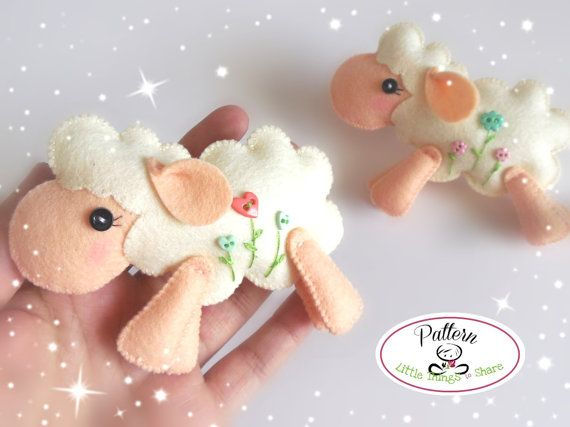 Jumping Sheep PDF sewing pattern-DIY-Felt por LittleThingsToShare