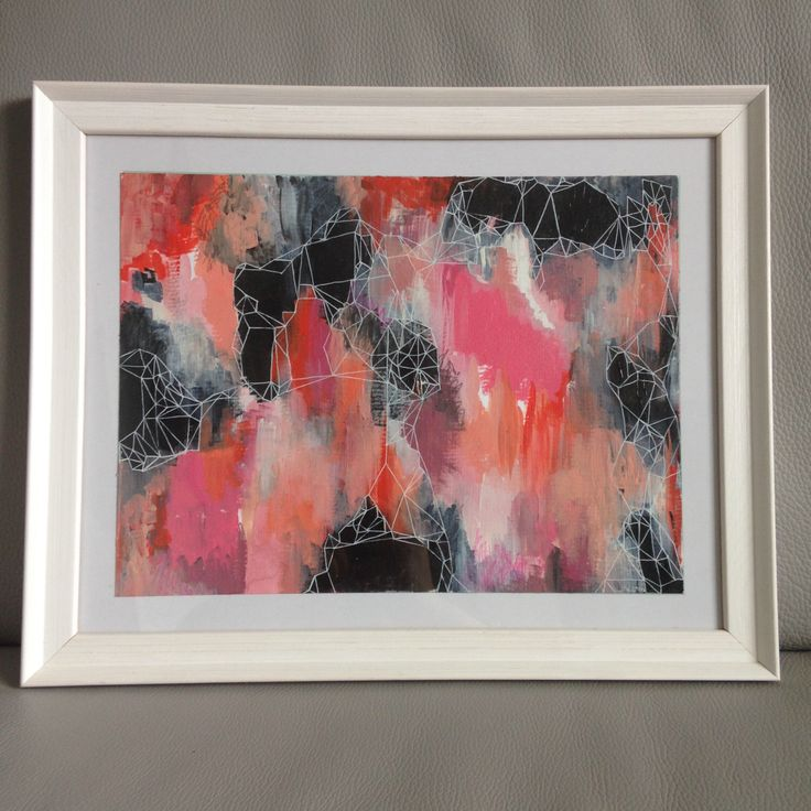 Original Abstract Painting with Geometric Detail, Framed by TreehomeArts on Etsy https://www.etsy.com/uk/listing/475881229/original-abstract-painting-with