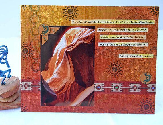 Southwestern Mixed Media Painting with Antelope by CarolaBartz, $30.00