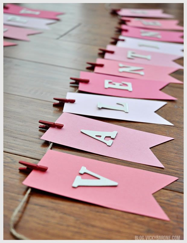 Create a DIY Valentine's Day garland to decorate the home for the special day.