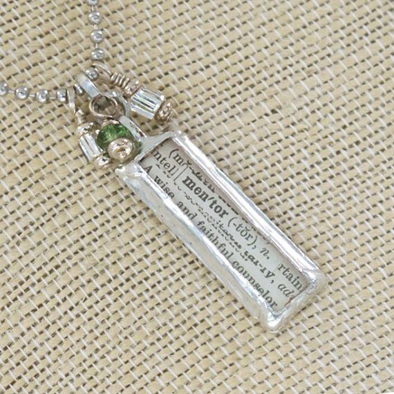 Mentor   Definition Charm Necklace  Soldered jewelry