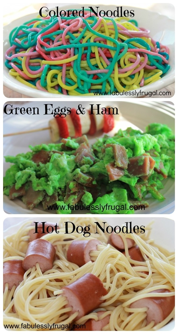 Three great ideas and #recipes to celebrate Dr. Seuss's Birthday with your kids!  Colored Noodles, Green Eggs and Ham, and Hot Dog Noodles!      http://fabulesslyfrugal.com/2013/02/dr-seuss-birthday-ideas.html