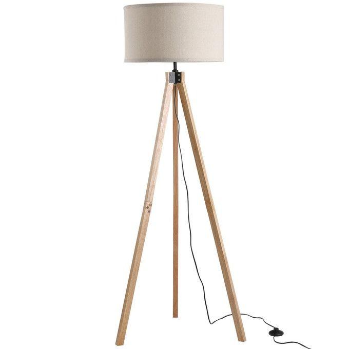 lampadaire trepied en bois beige homcom