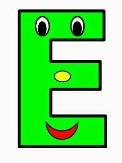 Vocal E mayúscula. Color verde.