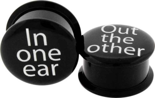"black acrylic plugs in one ear out the other 2G 0 7/16 1/2 5/8 3/4 7/8"" tunnels"
