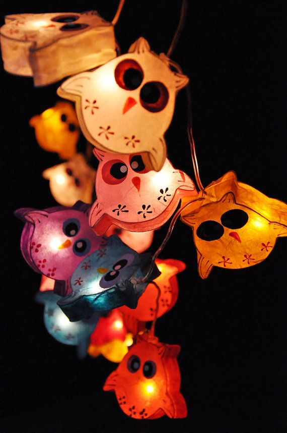 On-Off Switch (20 bulbs) Handmade Cute Owl mulberry paper Lanterns for Patio,Wedding,Party and Decoration on Etsy, $16.50
