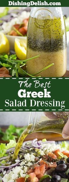 Best Greek Salad Dressing & Greek Salad is a the perfect combination for a light lunch, or as a side during family dinner. Tangy lemon and herbs mixed with vinegar, oil, and sweet honey mustard drizzled on top of a bed of greens with feta, tomato, onion, and kalamata olives. I like to make a big bowl of this on Sunday and eat it all week!