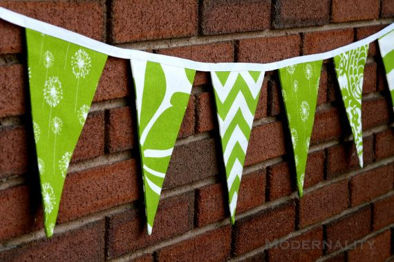 Fabric Bunting Banner- Green and White