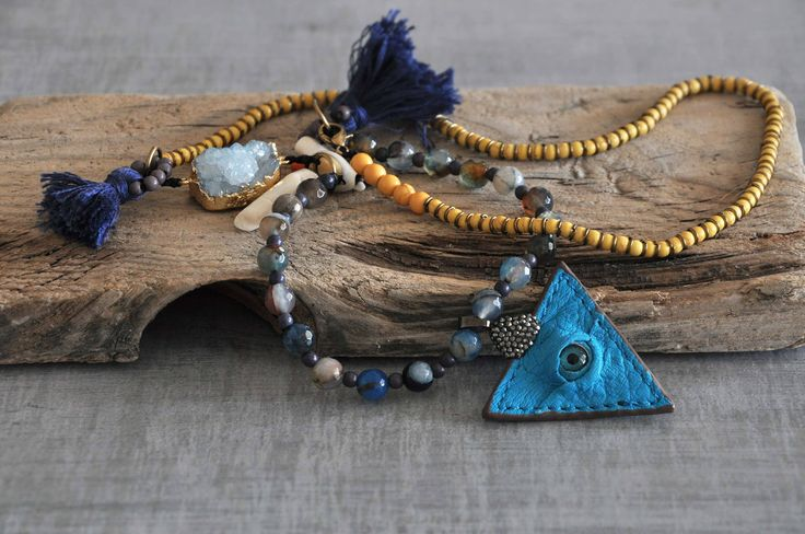 Turquoise Leather Evil Eye,  Aqua Geodes Crystal,  Coral Tooth Necklace,  Boho Gemstone Necklace,  Tassel Necklace by stellacreations on Etsy