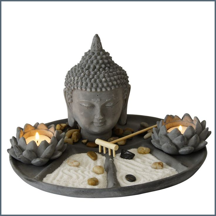 Mini Zen Garden With Buddha Statue And Lotus Flower Candle Holders U2015 Hepi  Home
