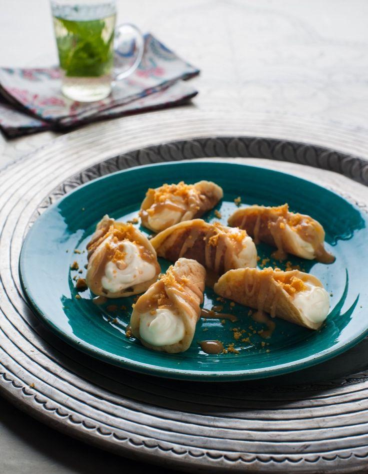 Semolina Pancakes with Honeycomb Ricotta & Almond Butter