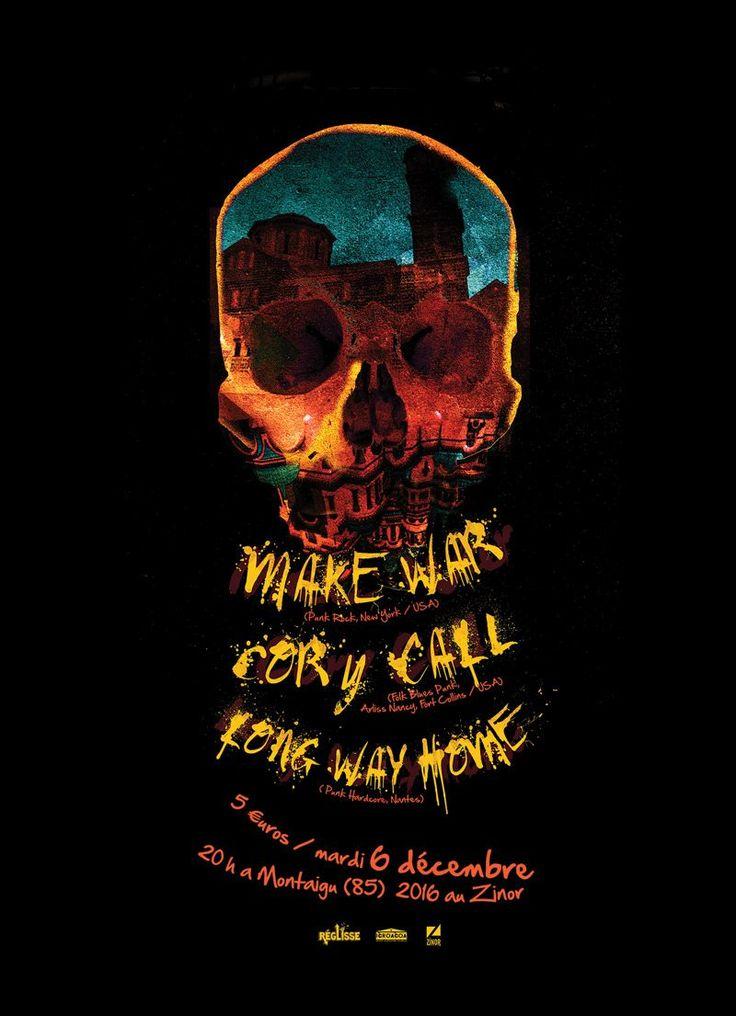 Affiche du concert Make War, Cory Call, Long Way Home | JulienG graphiste illustrateur Webdesigner Vendée Nantes