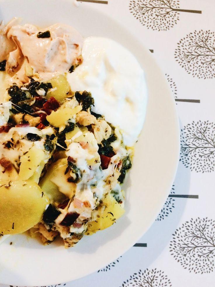 Madame Natali: Zapiekanka ziemniaczana ze szpinakiem i suszonymi pomidorami