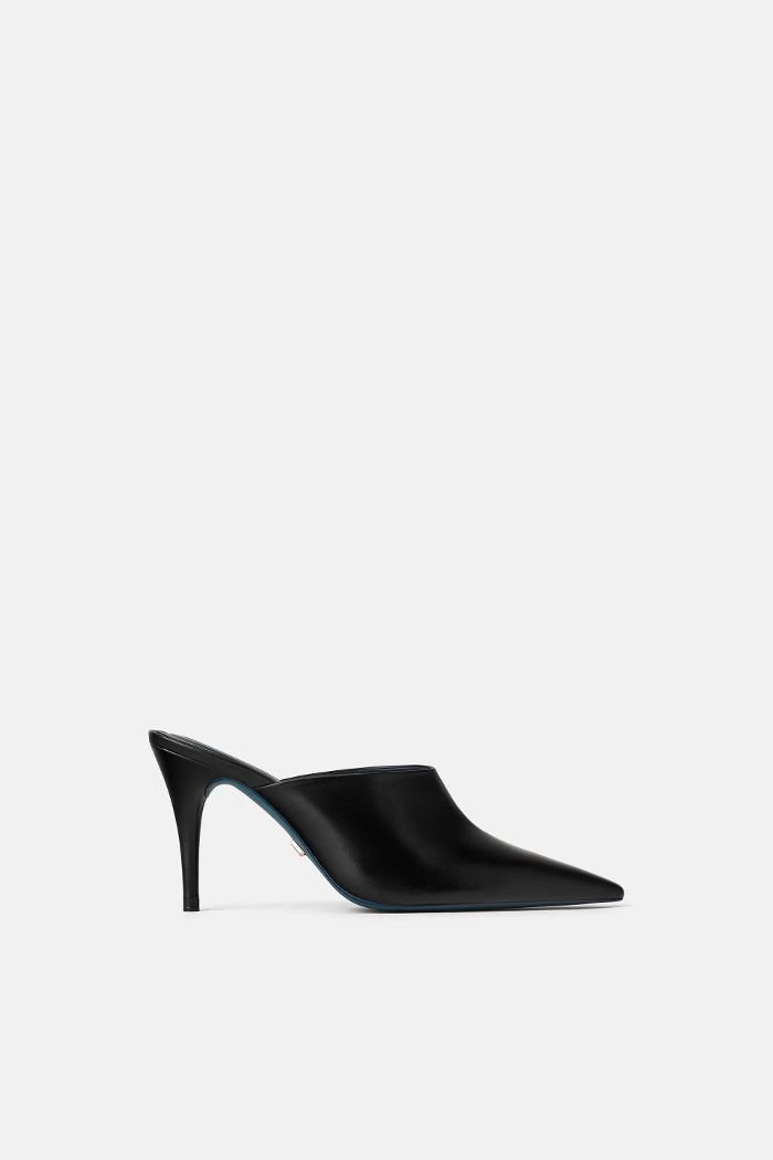 Zara Blue Collection Leather Mules