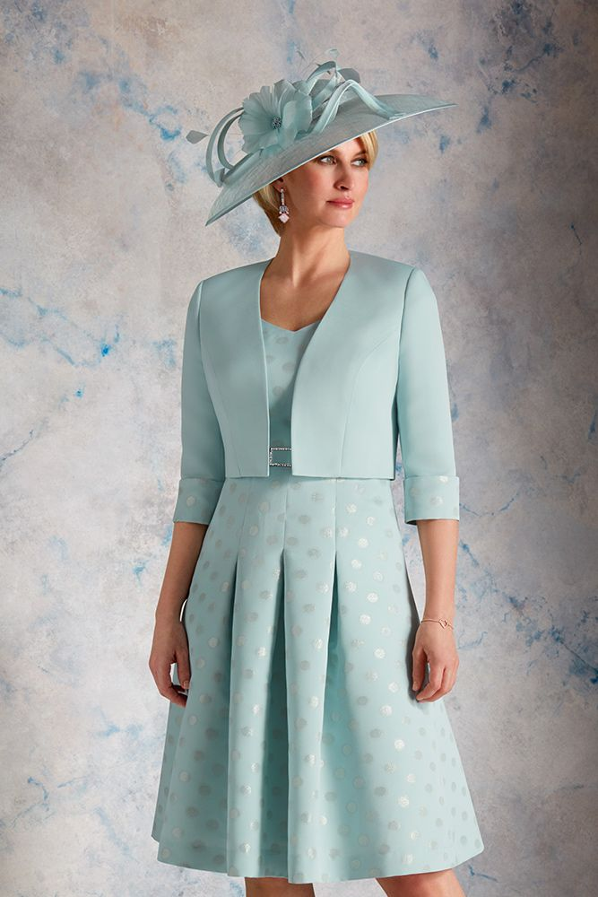 38ce3eab2277 Metallic Spot Tea Dress with Matching Jacket in Oyster and Seafoam. The  dress has a
