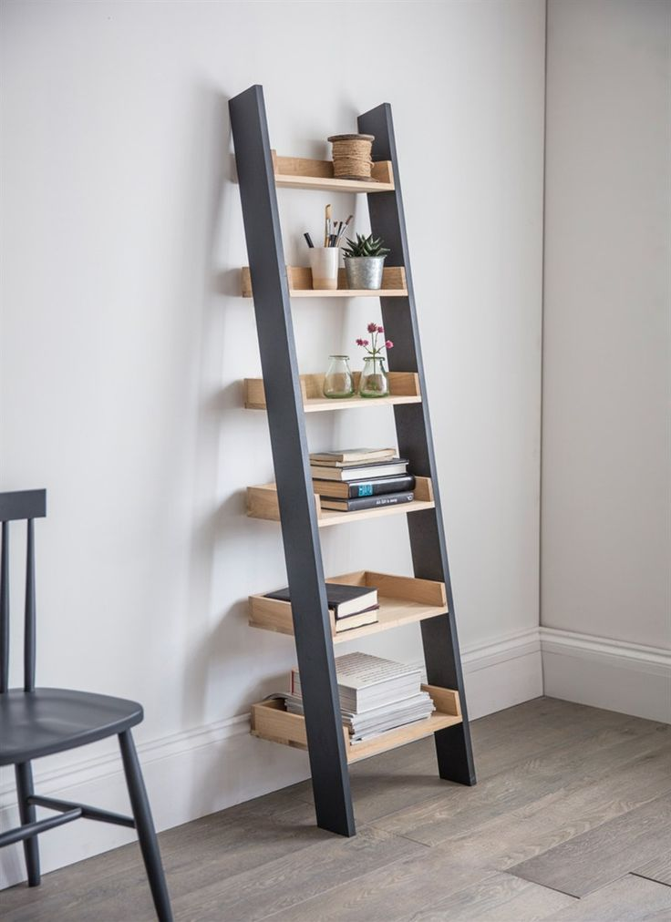 The urban mix of Oak and Carbon make the Clockhouse Shelf Ladder a perfect choice for use throughout the home