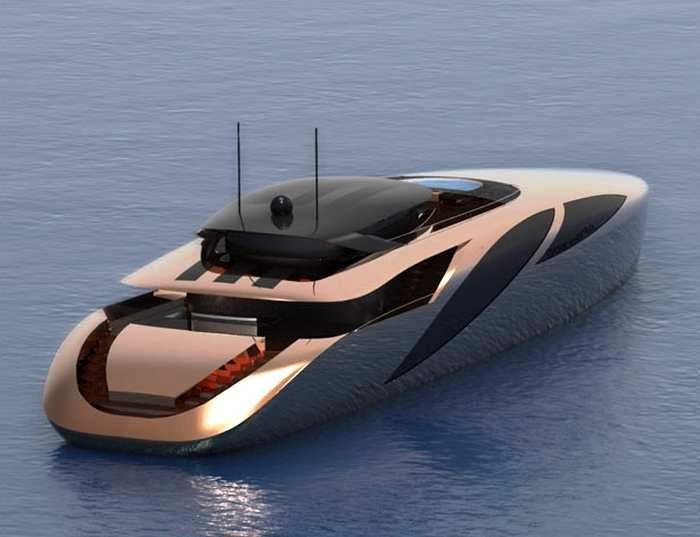 Copern 50 meters Yacht designed as a modern sporty model, with slim lines    Copern Yacht concept by Dani Santa, designed for high performance, features a large bridge protected by a hard top, spacious sundeck with sofas with