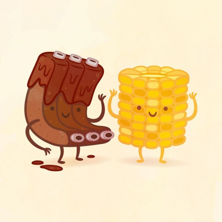 Мужчине день, милые смешные рисунки еды