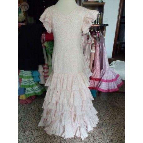 traje de flamenca de niña talla 12, rosa, semi-nuevo, de segunda mano, económico, barato, en perfecto estado, precioso