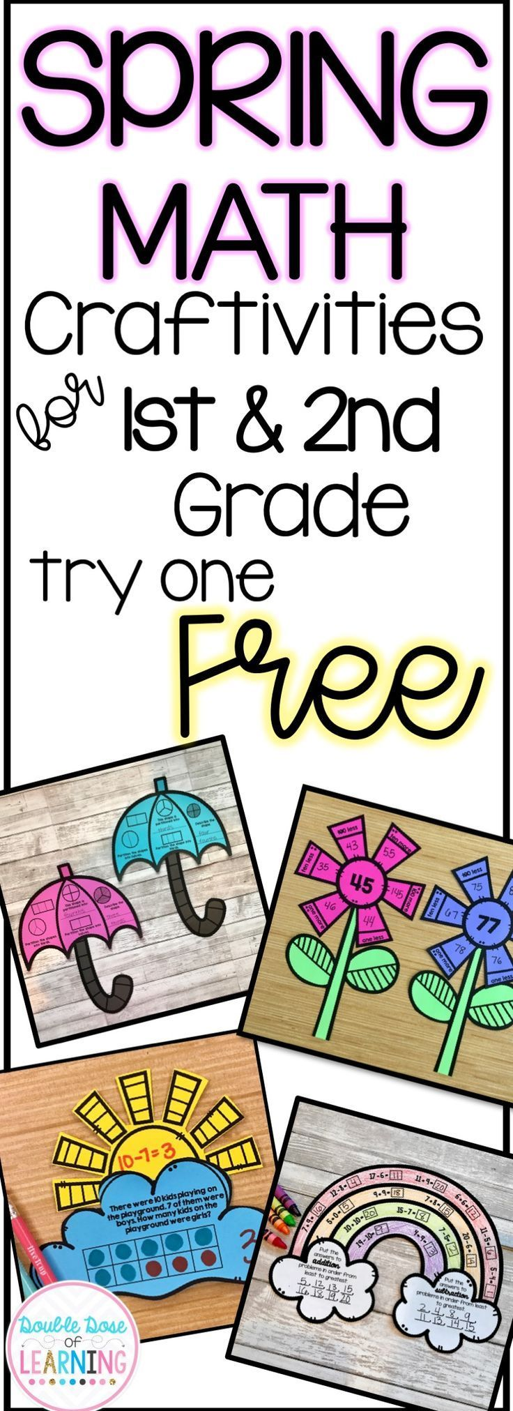 Spring Math Crafts for First and Second Grade!