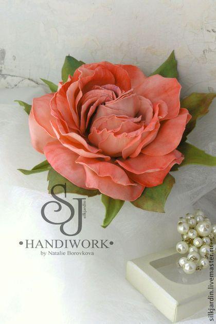 """ЦВЕТЫ ИЗ ФОАМИРАНА. брошь-заколка роза """"Анемоны"""" - коралловый,цветы ручной работы"""