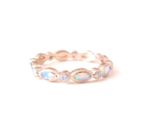 Rose-gold opal/diamond. <3 Would love even more if they were sapphires instead of diamonds!