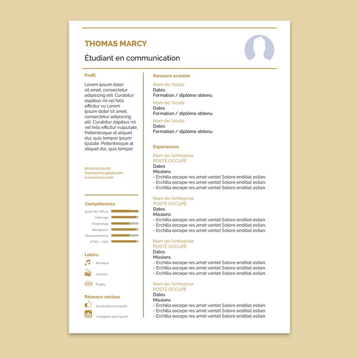 11 best travail images on Pinterest | Resume templates, Cv template ...