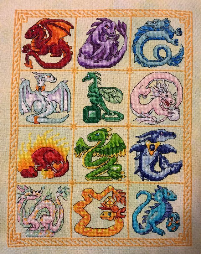 Counted cross stitch kit with DMC threads SMALL DRAGON